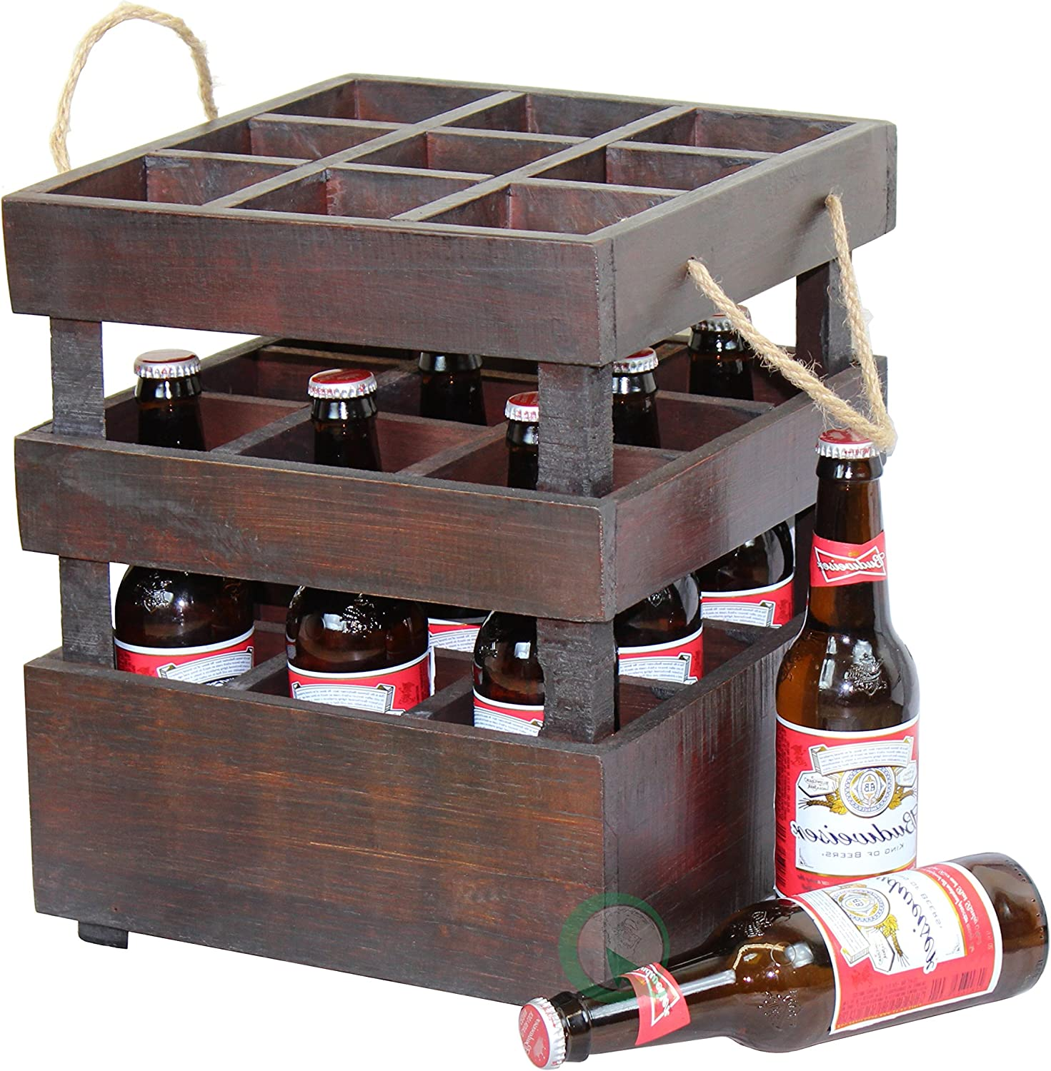Vintiquewise Antique Style Stackable Wooden Beer Crates
