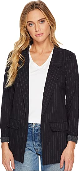 Boyfriend Blazer in Wide Stripe Ponte Knit
