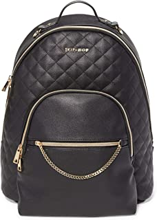Skip Hop Linx Luxury Quilted Diaper Backpack, Multi-Function Ergonomic Travel Bag with Insulated Front Pocket, Changing Pad, and Stroller Attachment, Black with Gold Trim