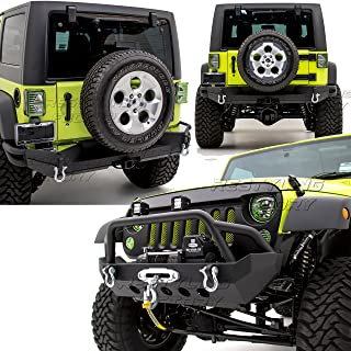 Restyling Factory -Rock Crawler Front Bumper w/ Winch Plate+Full Width Rear Bumper with 2