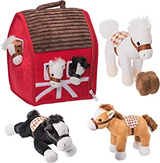 """Prextex Plush Farm House with Soft and Cuddly 5"""" Plush Horses, Farm Boy, and Farm House Barn House Carry Along Case"""