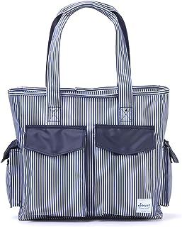 Teacher Utility Tote Bag with Multiple Pocket Canvas Stripes Handbag for Nurses and Soccer Moms (Blue)