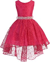 iGirlDress High Low Lace Dress with Rhinestones Belt Pageant Flower Girl Dress Size 2-20