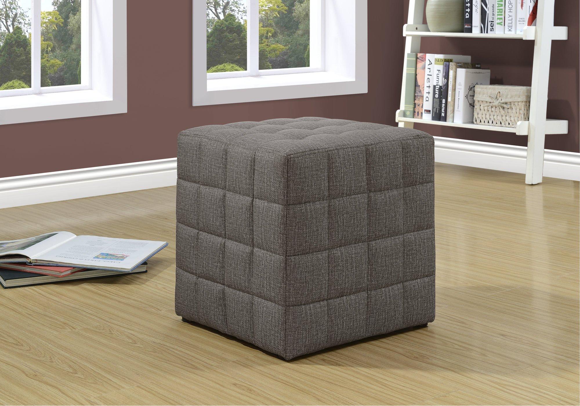 Monarch Specialties Ottoman - Cube Chair - Modern Tufted Cube Ottoman, Linen (Brown)