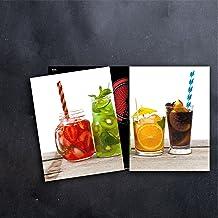 2x Herdabdeckung Herdabdeckplatten Ceranfeld Schneidebrett Abdeckung Glas Kiwi