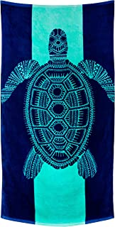 Nova Blue Turtle Beach Towel - Tropical Blue Colors With A Unique Design Extra Large (33x62) Made From 100% Cotton For Kids & Adults