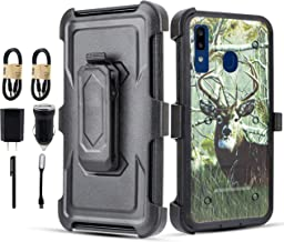 Galaxy A20 / A30 / A50 Case, 6goodeals with Built-in [Screen Protector] Heavy Duty Rugged Holster Armor Case [Belt Swivel Clip][Kickstand] for Samsung Galaxy A20 Case [Accessory Pack] (Deer)