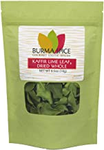 Kaffir Lime Leaves, Dried   Key Ingredient in Thai cuisine   Wonderful Addition to Soups and Curries   Rich Green Color and Extremely Flavorful 0.5 oz.