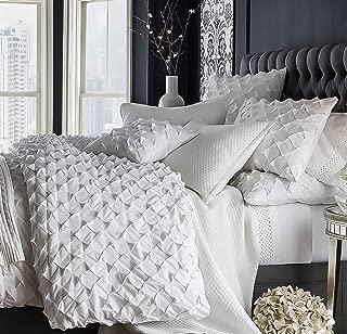 White cotton diamond puckered duvet cover (110