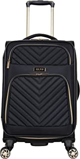 """Kenneth Cole Reaction Women's Chelsea 20"""" Chevron Quilted Softside Expandable 8-Wheel Spinner Carry-On Suitcase, Black, Inch"""