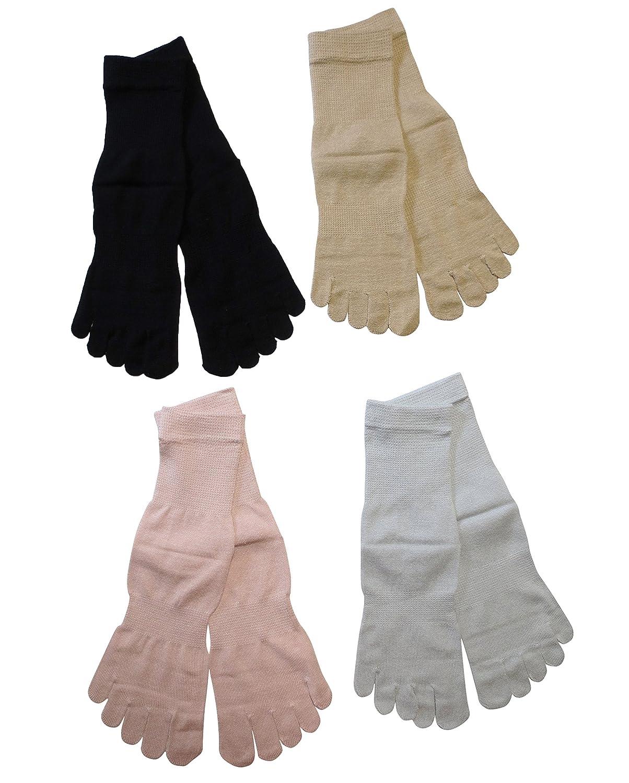 (Rarihima) シルク ソックス 五本指 ソックス 絹 冷え取り 靴下 レディース (シルク100%(ベージュ?グレー?ピンク?ブラック))