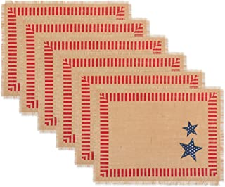 DII CAMZ11157 100% Jute/Burlap Fourth of July Placemat for Independence Day, Dinner Parties, Summer & Outdoor Picnics, 4th