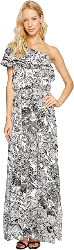 Maggy London - One-Shoulder Ruffle Maxi Dress