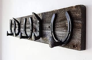 Vintage Rustic Coat Rack –Authentic Barn Wood Hanger Rack for Towels, Clothes, Hats, Bags–Antique Door & Wall Mounted 5-Hook Rail (Horseshoe & Railroad Spike Hook - 32