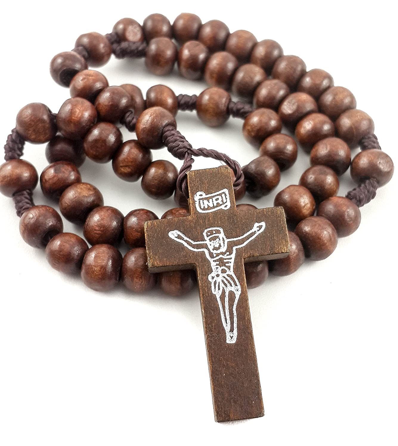 Prayer Rosary Dark Natural Wood Beads Catholic Jesus Cross Rosario Of Jerusalem