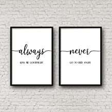 456Yedda Always Kiss Me Goodnight Never Go to Bed Angry Bedroom Printable Wall Art Wedding Gift Bedroom Quotes Above Bed Decorset of 2 Wood Pallet Design Sign Plaque with Frame Wooden Sign