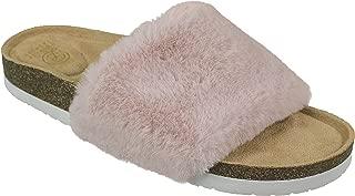 Ladies Wedge Sandal, Fur Fashion Slide, Size 6 to 10