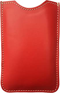 Astuccio porta e proteggi smartphone custodia in vera pelle pregiata e riciclata tinta unita Col. Rosso fatto a mano in It...