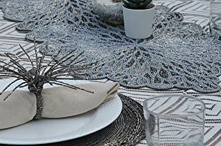 Trunkin Smoke Colored Fabric/Glass Beaded Embroidered Runner | Kitchen Runner | Table Runner and Placemats | Dining Table ...