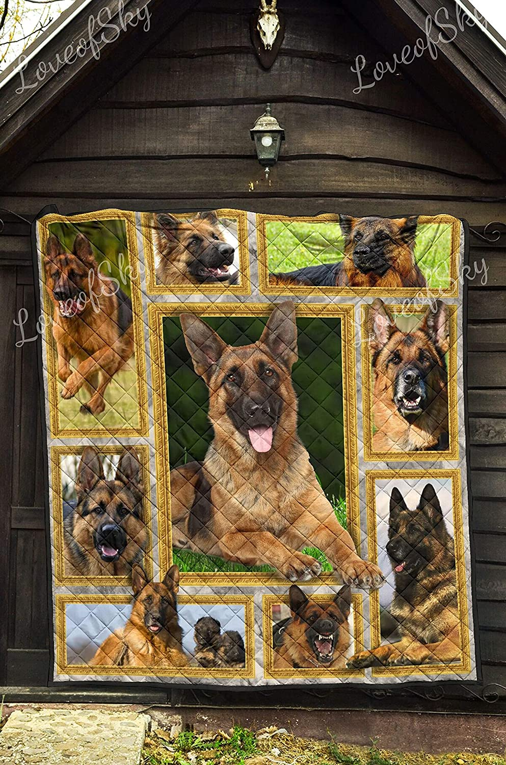 I Love My German Shepherd Quilt Queen Size Blankets King Queen Twin Size Birthday for Dad Mom Husband Wife Kids Son Daughter