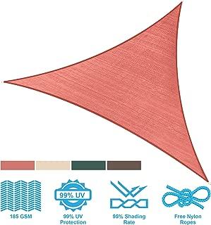 PHI VILLA Sun Shade Sail Triangle 12'x12'x12' Terra Cotta Patio Canopy Cover - UV Bloack - for Patio, Garden, Yard, Pergola