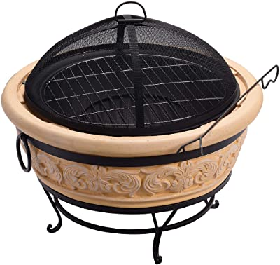 "Peaktop HR26303AA-S Round Intricate Wood Burning Fire Pit, 27.2"", Sand"