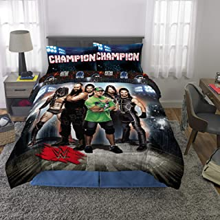 Franco Kids Bedding Soft Comforter and Sheet Set, 5 Piece Full Size, WWE Super Stars