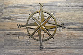 Nautical Star Compass Steel Wall Decor, Made in U.S.A. wall hanging art, Various Finishes, Sizes