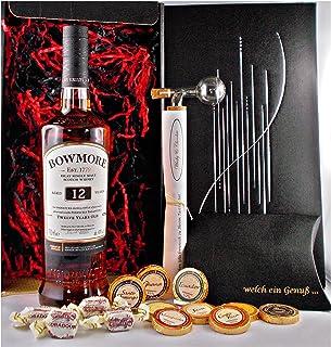 Geschenk Bowmore 12 Jahre Single Malt Whisky  Glaskugelortionierer  Edelschokolade  Whiskey Fudge