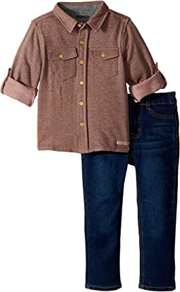 Two-Piece Button Down Shirt w/ Knit Denim Pants Set (Toddler)