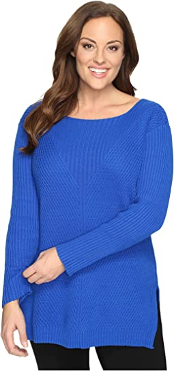 Plus Size Long Sleeve Ribbed V Textured Sweater