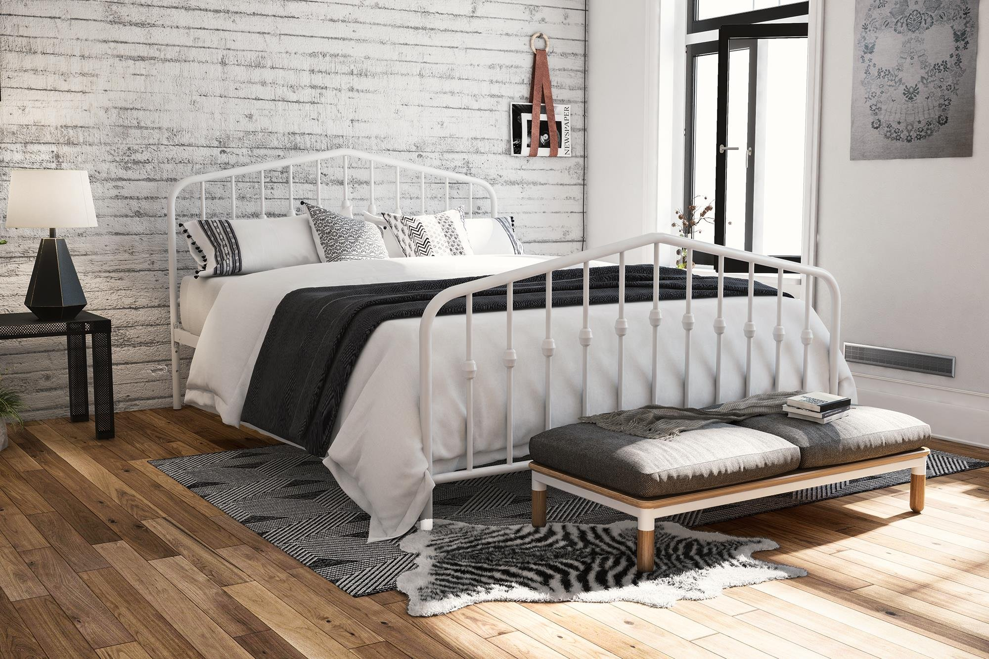 Novogratz Bushwick Metal Bed with Headboard and Footboard | Modern Design | Queen Size - White