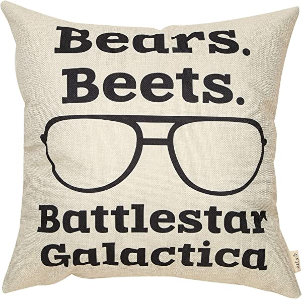 Fjfz The Office D Cor TV Show Funny Quote Decoration Bears Beets Battlestar Galactica Dwight Schrute Sign Cotton Linen Home Decorative Throw Pillow Case Cushion Cover For TV Lover Sofa Couch 18 X18