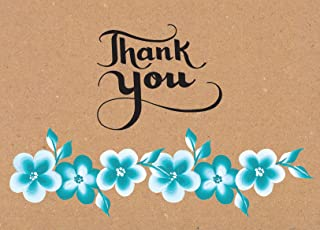 Thank You Cards – Floral Flower Greeting Cards for Baby Showers, Weddings, Bridals & Birthdays. Set of 36 Beautiful & Elegant Thank You Notes on Recycled Brown Kraft Paper with Self Seal Envelopes