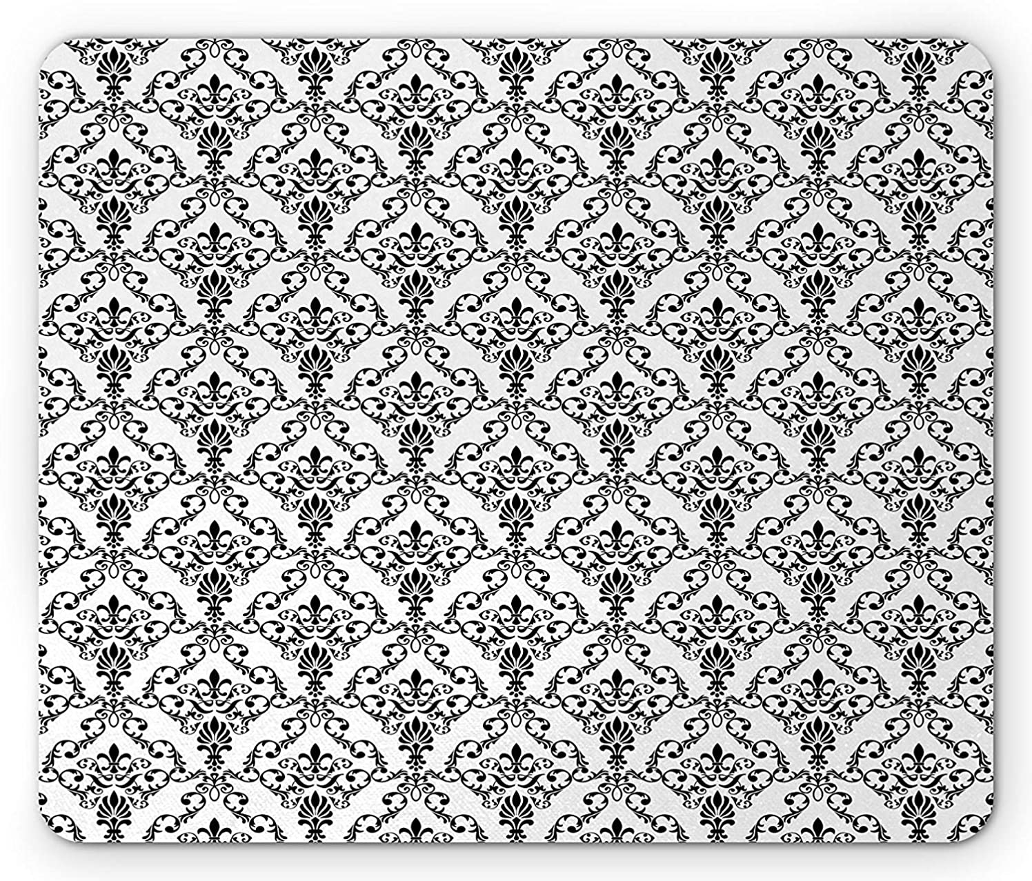 Damask Mouse Pad, Damask Pattern Abstract Old Fashioned Style Architectural Motif Inspired Print, Standard Size Rectangle Non-Slip Rubber Mousepad, Black and White