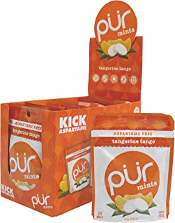 PUR 100% Xylitol Breath Mints, Tangerine Tango, 20 Count (Pack of 12) Sugar-Free + Aspartame Free, Vegan + non GMO