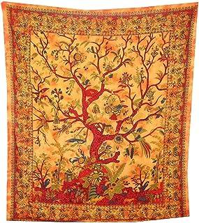 indischerbasar.de Couverture indienne Tenture Arbre de vie orange 230x205cm multicolore oiseaux fleurs coton Style Tie Dye...