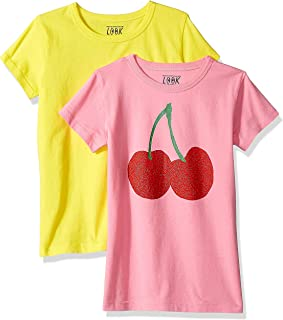 Amazon/ J. Crew Brand- LOOK by crewcuts Girls' 2-Pack Graphic/Solid Short Sleeve T-Shirt