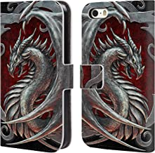 Official Christos Karapanos Talisman Silver Dragons 2 Leather Book Wallet Case Cover Compatible for iPhone 5 iPhone 5s iPhone SE