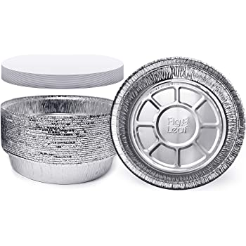(45 Pack) Premium 9-Inch Round Foil Pans with Board Lids l Heavy Duty l Disposable Aluminum Tin for Roasting, Baking, or Cooking