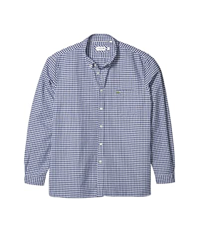 Lacoste Long Sleeve Oxford Gingham Button Down Collar Regular (Phoenix Blue/Methylene) Men
