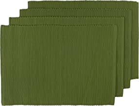 Now Designs Spectrum Basic Cotton Placemats, Set of Four, Fir Green