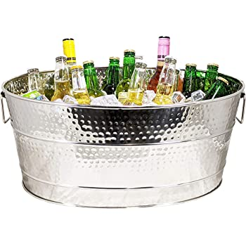 BREKX Aspen Stainless-Steel Metal Bucket for Ice and Drinks, Beverage Chiller for Parties - Heavy-Duty Armored Build