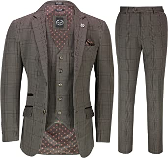 Mens 3 Piece Prince of Wales Check Suit Classic Stretch Tailored Fit Jacket Waistcoat Trouser