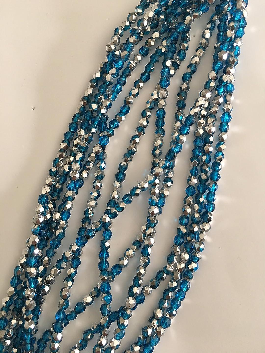 Fire Polished 3, mm Czech Beads (Aqua Silver) 600 beads .