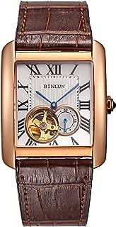 Men's Rectangle Gold Sliver Automatic Dress Watches Black Brown Calfskin Straps Tourbillon