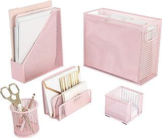 مجموعة أدوات مكتبية مكونة من 5 قطع من بلو موناكو باللون الوردي - مع منظم ملفات معلق لسطح المكتب، وحامل مجلات، وكوب أقلام، ...