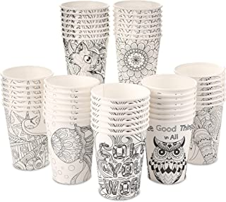 Color Your World [100 Pack - 12 oz] Color-able Designs | Sturdy Disposable Paper Coffee Cups | Tea Paper Cups | Compostabl...