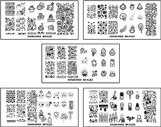 Maniology (formerly bundle monster) 5pc XL Nail Art Stamping Plate Set - Kawaii Emoji