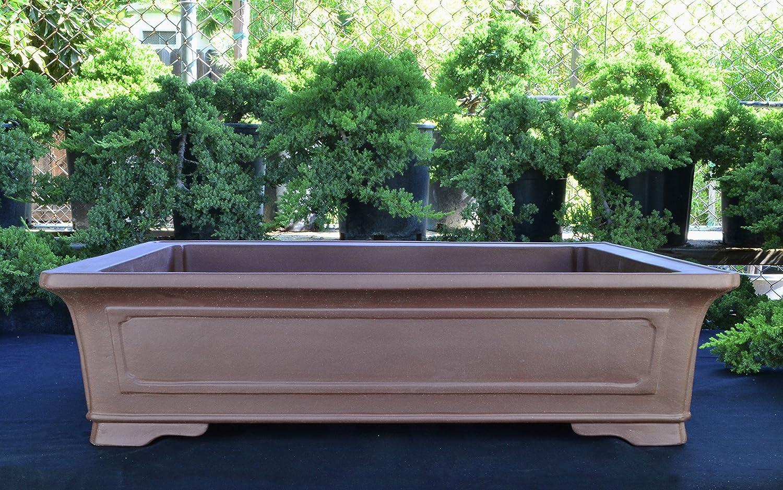 "clay bonsai pots for sale Oversize Large Unglazed 1"" Rectangular Yixing Purple Clay Ceramic Bonsai  Pot(PA1-1)"